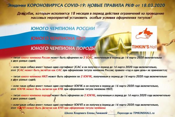 Новые правила присуждения титулов на время эпидемии вируса COVID-19